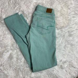 American Eagle Mint Skinny Jeans Size 00